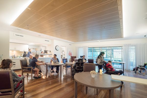 WesleyCare Jindalee dining area with residents and family
