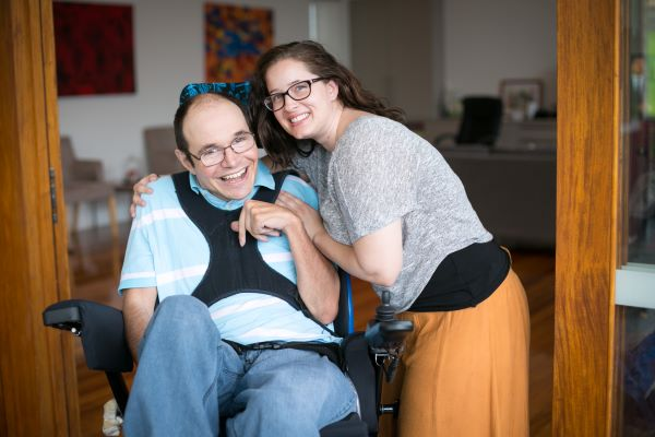 Youngcare Sharehouse Wooloowin resident with staff member