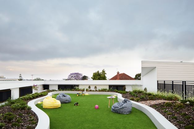 Rooftop courtyard and garden at Hummingbird House