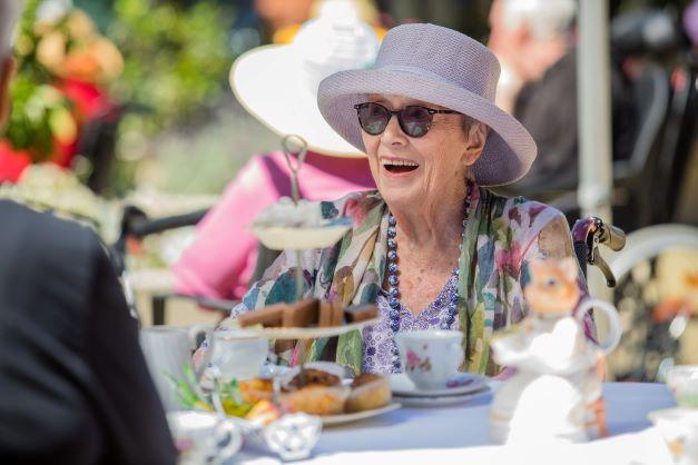 John Wesley Garden's resident enjoying some time in the sunshine