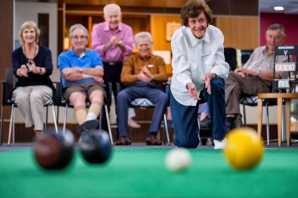 Retirees playing bowls